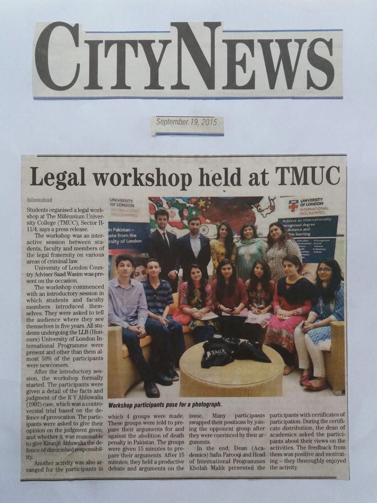 Legal workshop held at TMUC