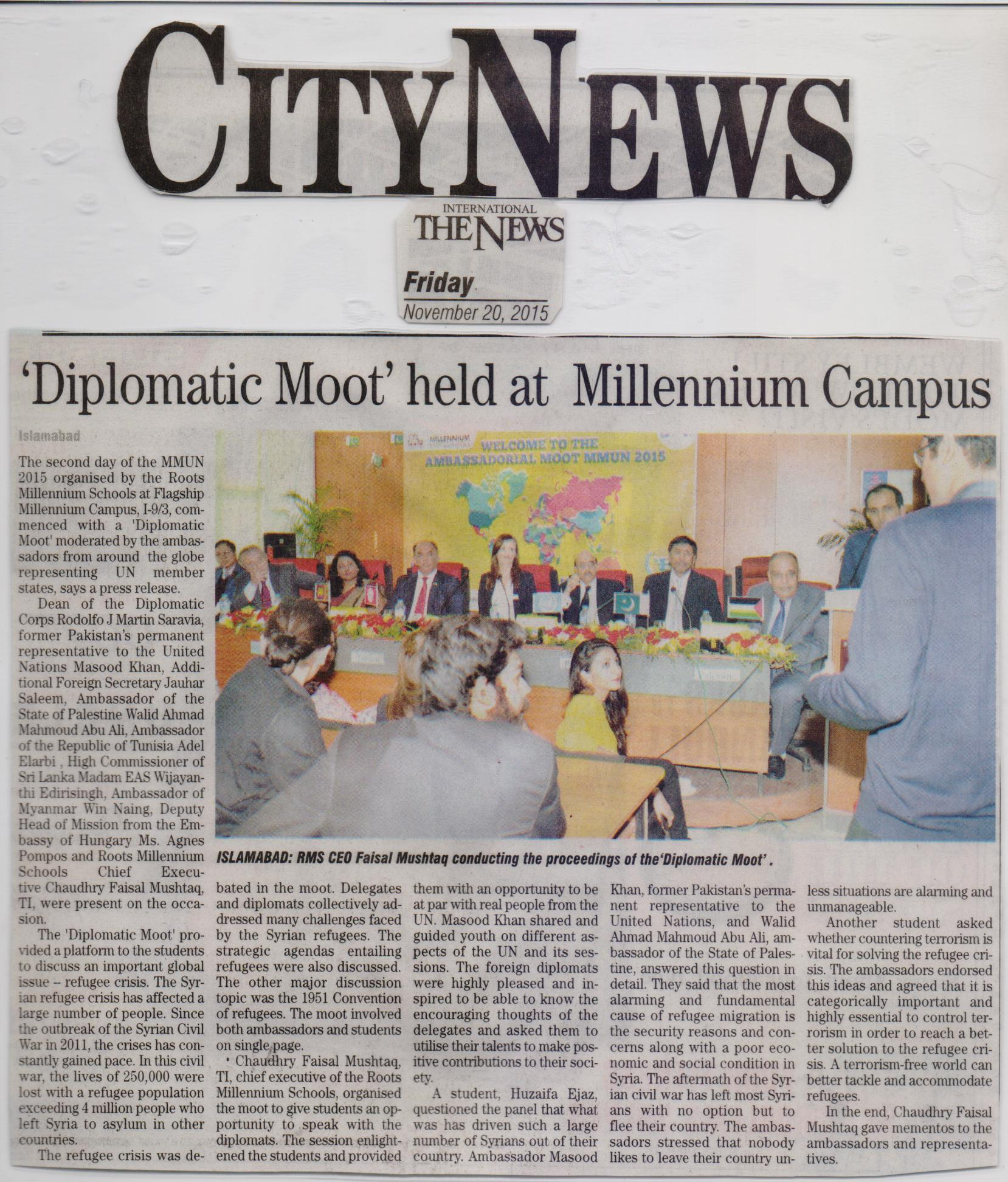 Diplomatic moot held at Roots