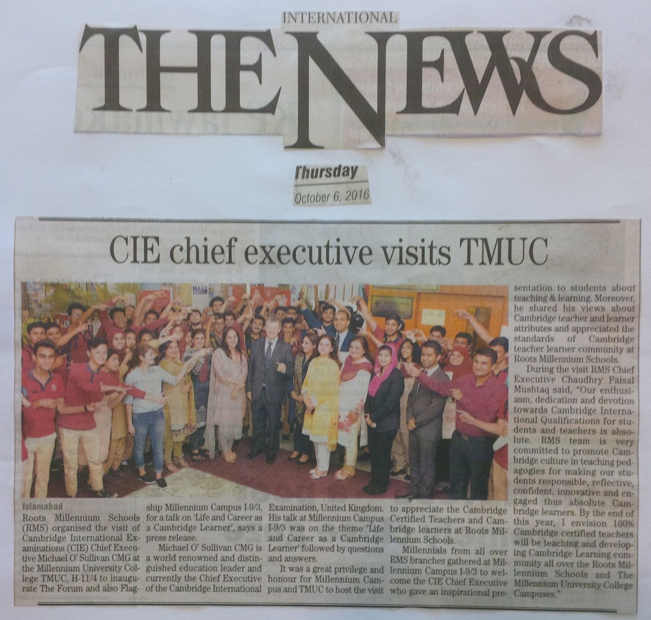 CIE chief executive visits TMUC