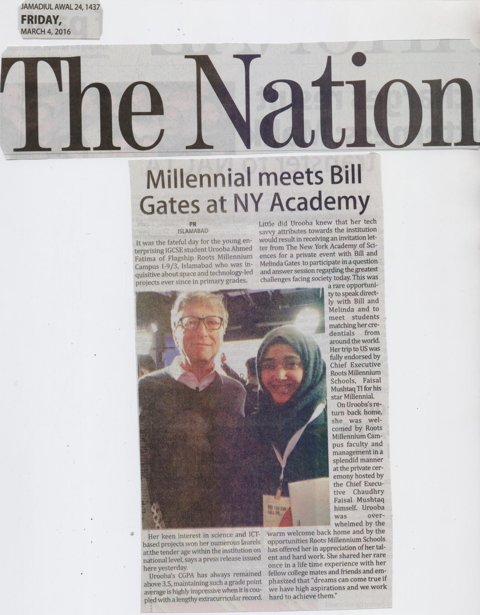Millennial Urooba meets Bill Gates at New York Academy of Sciences