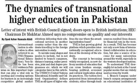 The dynamics of transnational higher education in Pakistan