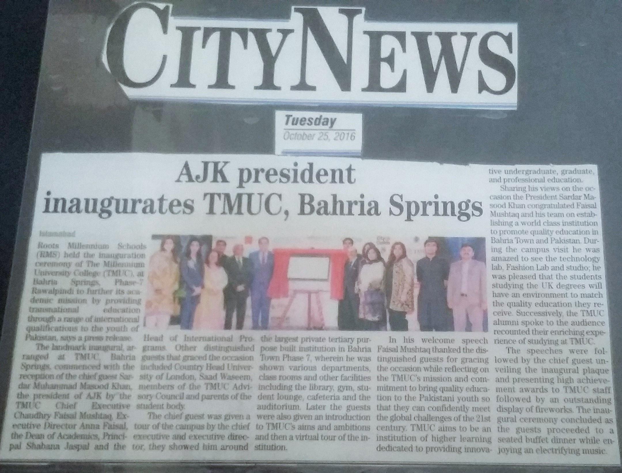 AJK President inaugurates TMUC Bahria Springs
